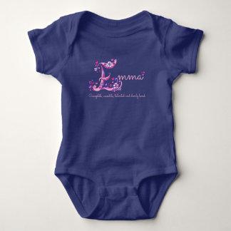 Emma girls name & meaning E monogram baby romper Baby Bodysuit
