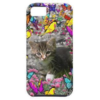 Emma in Butterflies I - Gray Tabby Kitten iPhone 5 Covers