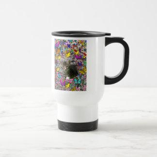 Emma in Butterflies I - Gray Tabby Kitten Coffee Mug