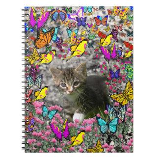 Emma in Butterflies I - Gray Tabby Kitten Spiral Notebook