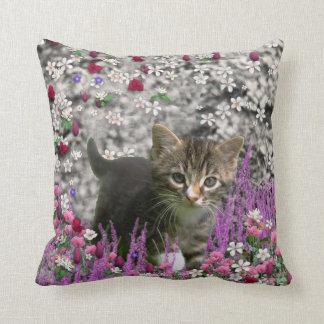 Emma in Flowers I – Little Gray Kitten Throw Pillow