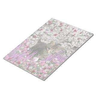 Emma in Flowers I – Little Gray Kitty Cat Memo Pad