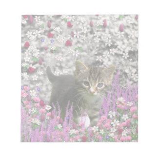 Emma in Flowers I – Little Grey Kitten Scratch Pad