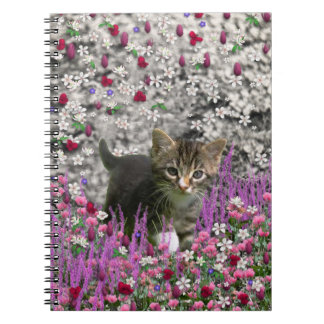 Emma in Flowers I – Little Grey Kitty Cat Spiral Note Book