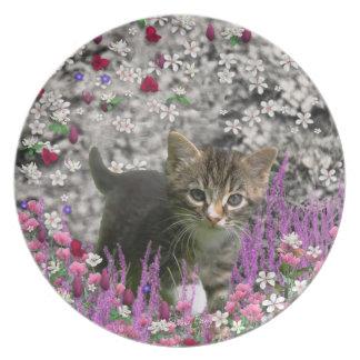 Emma in Flowers I – Little Grey Kitty Cat Dinner Plate