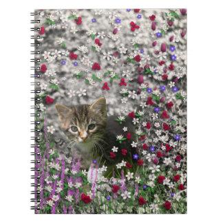 Emma in Flowers II, Little Gray Tabby Kitty Cat Spiral Note Book