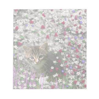 Emma in Flowers II Little Gray Tabby Kitty Cat Scratch Pads