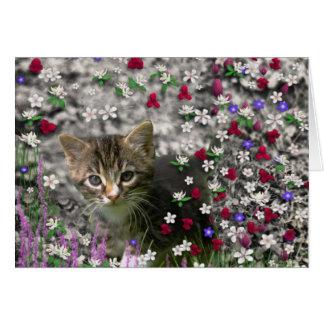Emma in Flowers II, Little Grey Tabby Kitty Cat Greeting Card