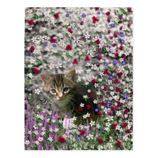 Emma in Flowers II, Little Grey Tabby Kitty Cat Postcard