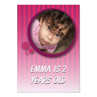 Emma is 2 years old 13 cm x 18 cm invitation card