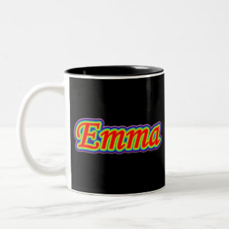 Emma - Rainbow - On Black Two-Tone Coffee Mug