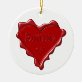 Emma. Red heart wax seal with name Emma Ceramic Ornament