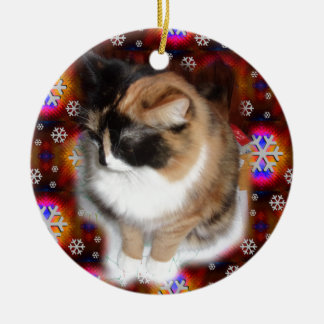 Emma the Cat on Wrapping Paper.jpg Ceramic Ornament