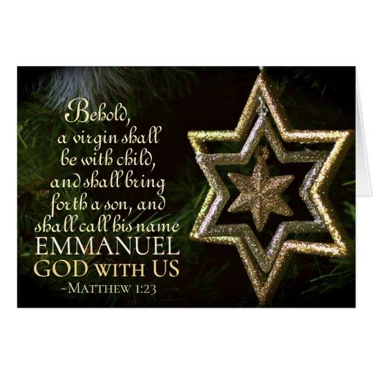 Emmanuel God with Us Matthew 1:23 Christmas Bible Card