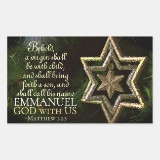 Emmanuel God with Us Matthew 1:23 Christmas Bible Rectangular Sticker