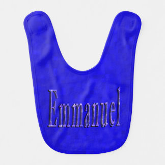 Emmanuel Name Logo, Baby Boys Blue Bib