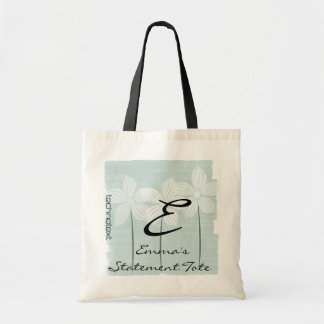 Emma's White Flowers Mint  Statement Tote