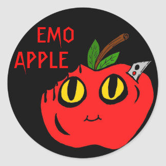 Emo Apple Round Stickers