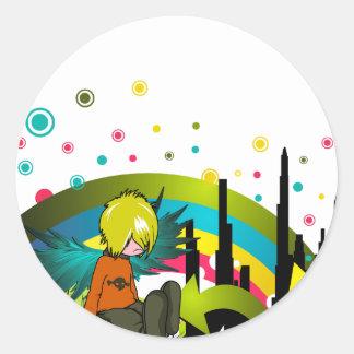 Emo Boy Under Muted Rainbow Round Sticker
