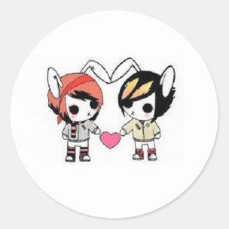 emo bunnies round sticker