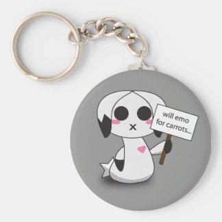 Emo Bunny Basic Round Button Key Ring