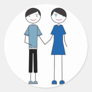 Emo Couple Round Sticker