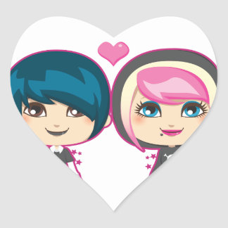 Emo Couple Heart Stickers