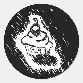 Emo cupcake round sticker