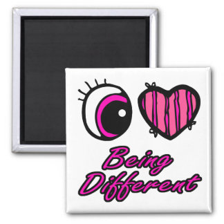 Emo Eye Heart I Love Being Different Square Magnet
