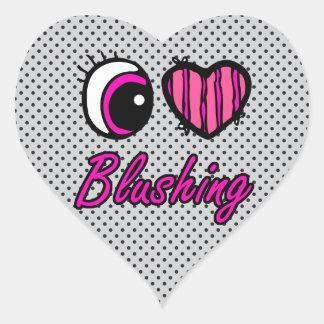 Emo Eye Heart I Love Blushing Heart Sticker