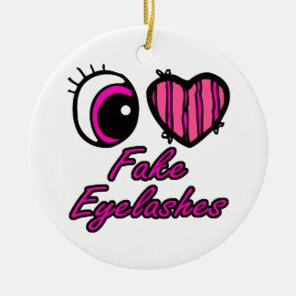 Emo Eye Heart I Love Fake Eyelashes Round Ceramic Decoration