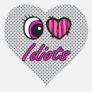 Emo Eye Heart I Love Idiots Stickers