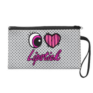 Emo Eye Heart I Love Lipstick Wristlet Clutch
