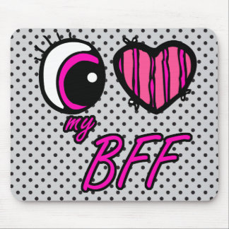 Emo Eye Heart I Love my BFF Best Friend Forever Mouse Pad
