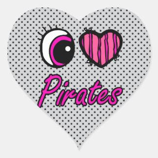 Emo Eye Heart I Love Pirates Heart Sticker
