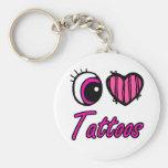 Emo Eye Heart I Love Tattoos Basic Round Button Key Ring