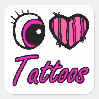 Emo Eye Heart I Love Tattoos Square Sticker