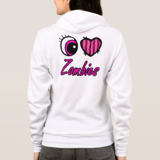 Emo Eye Heart I Love Zombies Hoodie