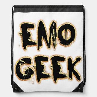 Emo Geek Black Drawstring Bag