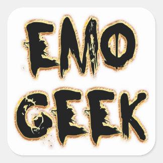 Emo Geek Black Square Sticker
