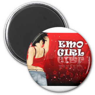Emo Girl 6 Cm Round Magnet