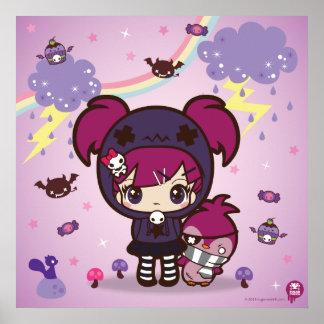 Emo Girl Haruka and Spitzen the Penguin Poster