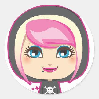Emo Girl Round Sticker