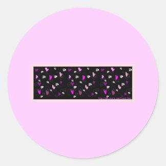 emo goth skulls and hearts round sticker