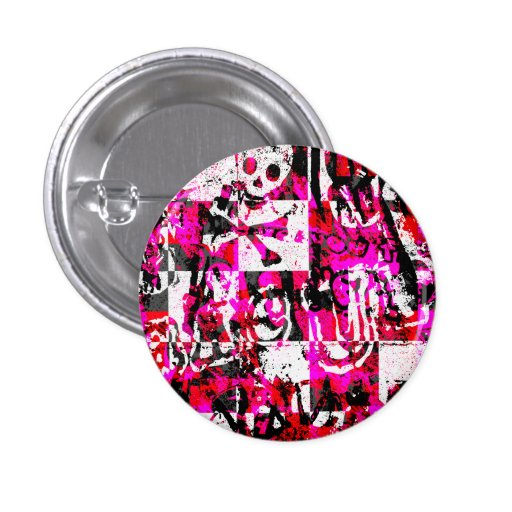 Emo Graffiti Pink Checkers Buttons