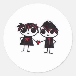 Emo in love round sticker