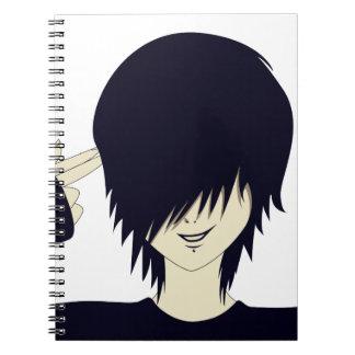 Emo kid with finger gun spiral note book