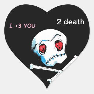 Emo Love Hearts &Skulls  Heart Shaped Stickers