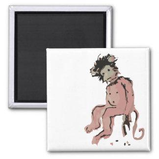 emo monkey ink square magnet