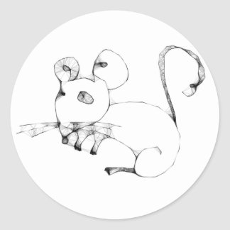 Emo Mouse Round Sticker